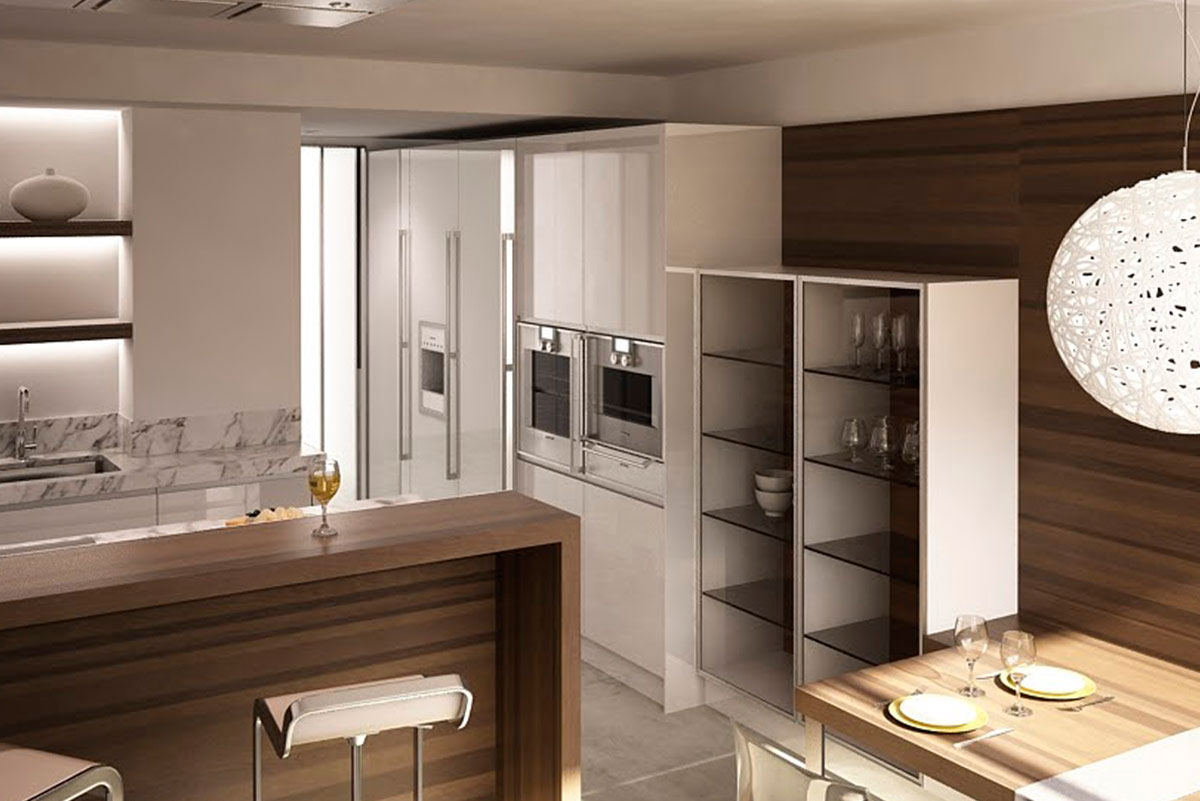 Cocina abierta moderna proyecto madrid mentha cocinas for Muebles a medida madrid